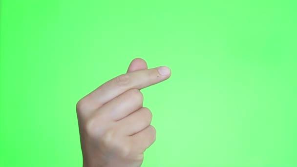 Koreai ujj szív gesztus. Kézi zár-megjelöl. Chroma key háttér. Zöld képernyő. Elszigetelt