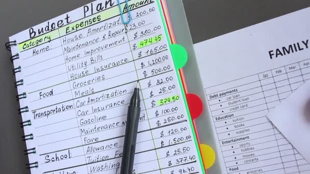 Family budget. Monthly expenses list. Woman writes down all her sources of income and all your expenses