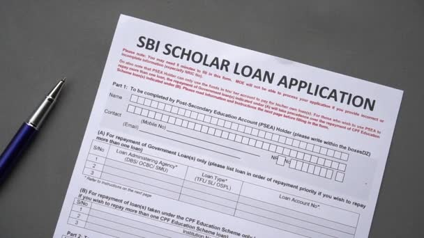 SBI scholar loan application form. Credit application on a paper sheet