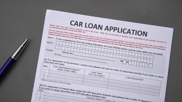 Car loan application form. Credit application on a paper sheet