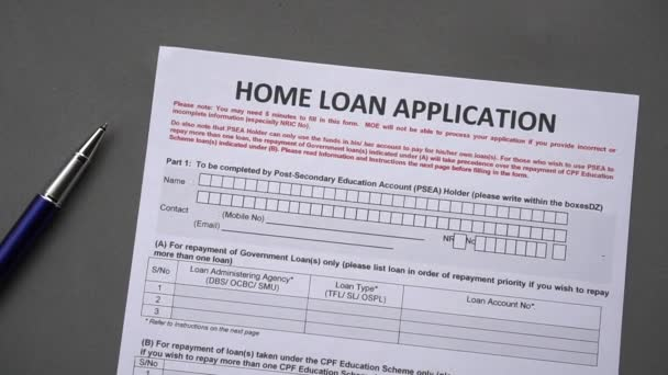 Home loan application form. Credit application on a paper sheet