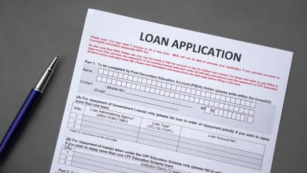 Loan application form. Credit application on a paper sheet