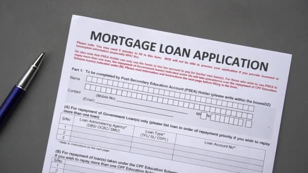 Mortgage loan application form. Credit application on a paper sheet