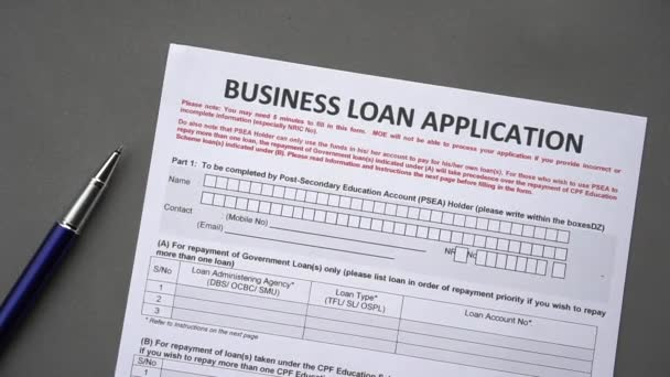 Business loan application form. Credit application on a paper sheet