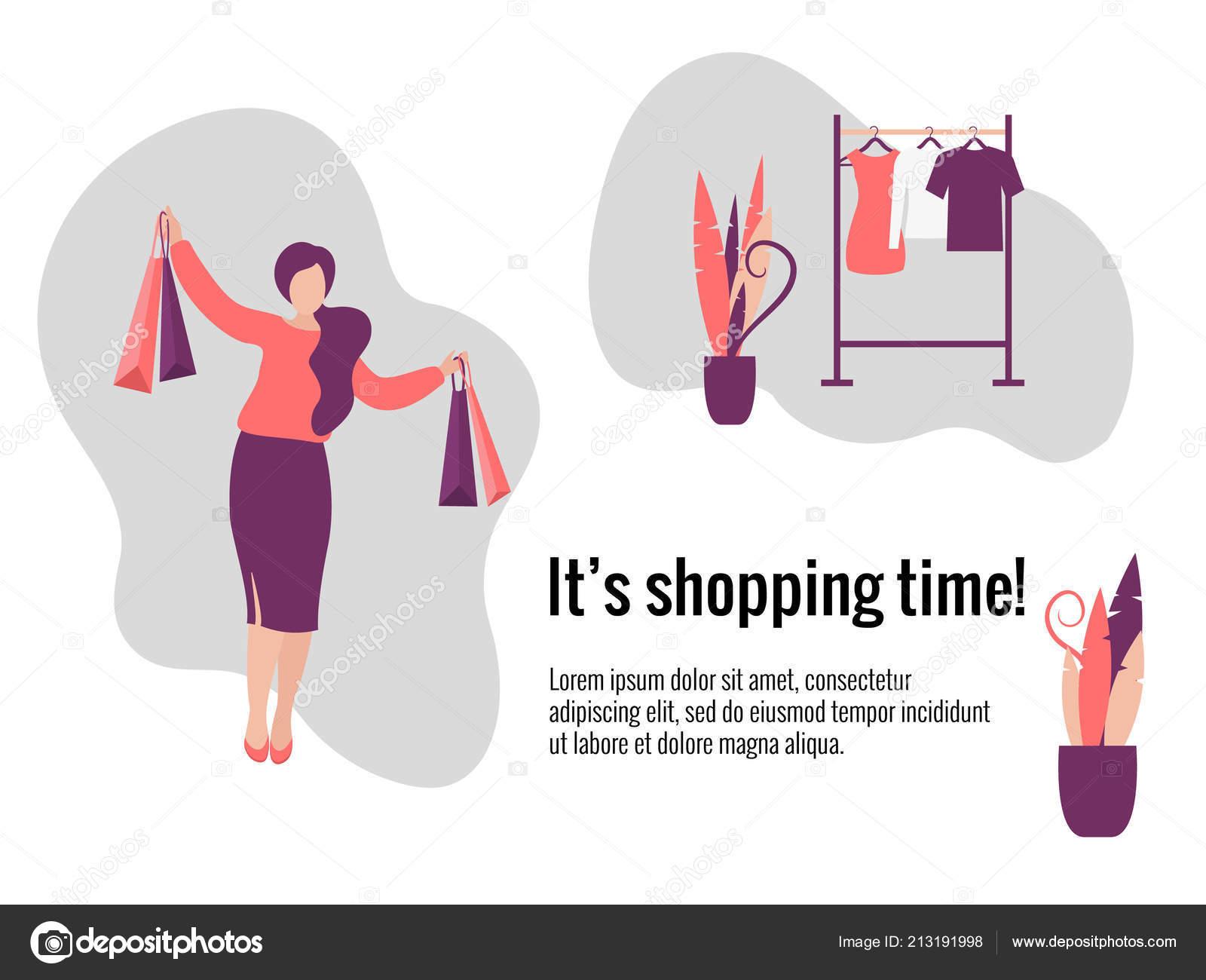 47f8d3670 Mulher com arte de sacos de compras. Ilustração do plano de venda e compras  de vetor. Conceito de tempo para o site de compras — Vetor de ...