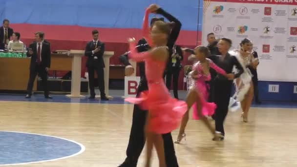 Orenburg, Russia - May 25, 2019: Girl and boy dancing on competition City dancesport named Yuri Vershinin