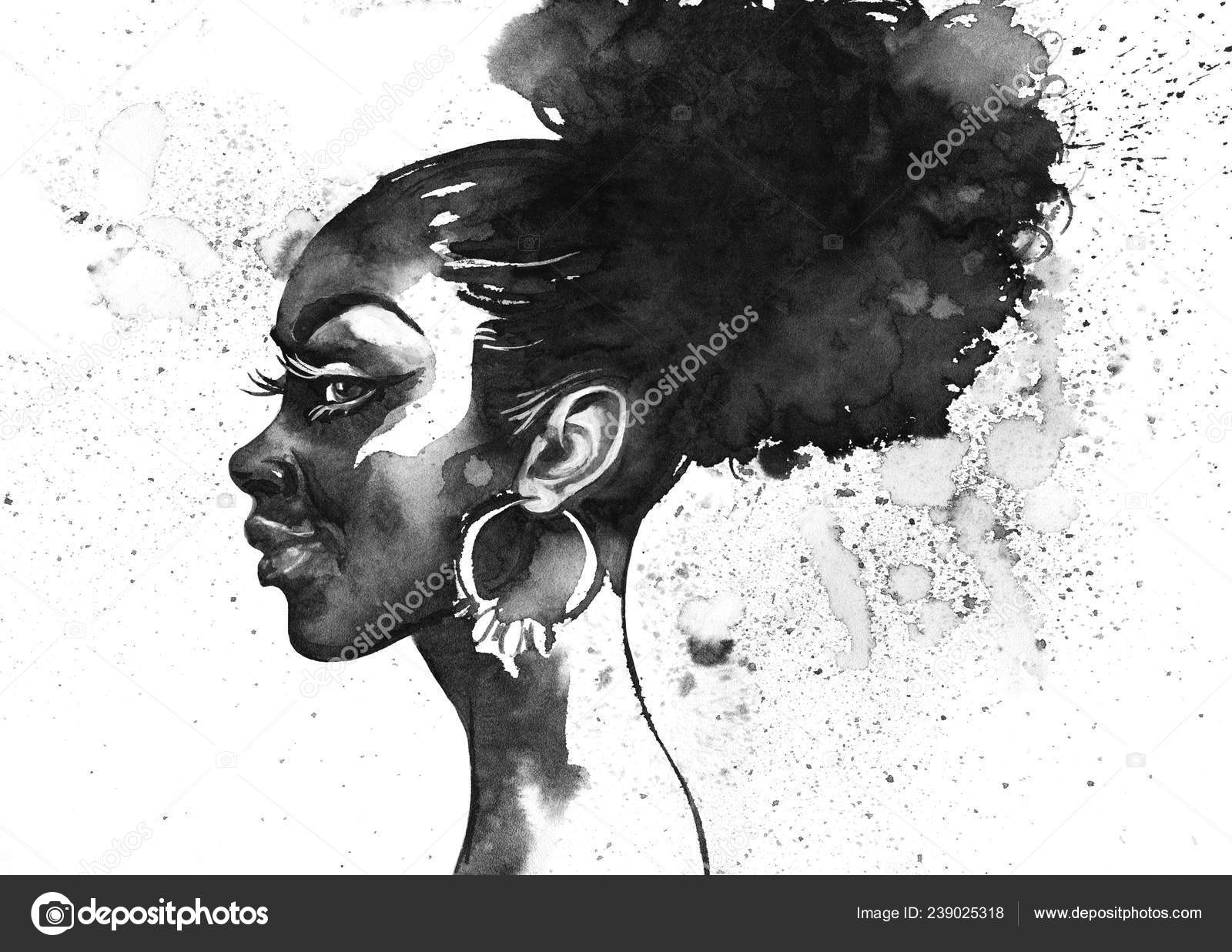 Watercolor beauty african woman painting black white fashion illustration hand stock photo