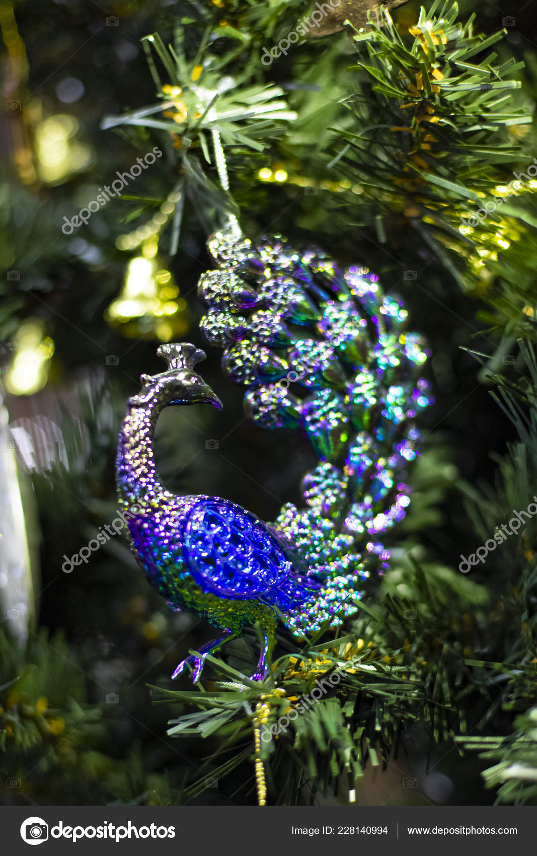 Vintage Christmas Tree Toy Decorations Purple Peacock Stock Photo Image By C Taborov 228140994