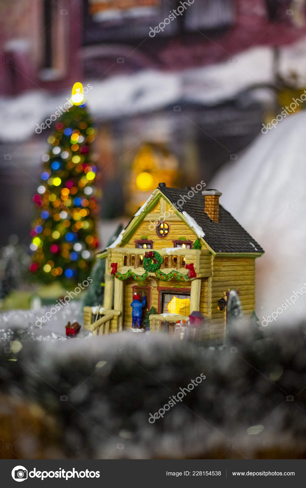 Fabulous holiday houses figurines xmas \u2014 Stock Photo