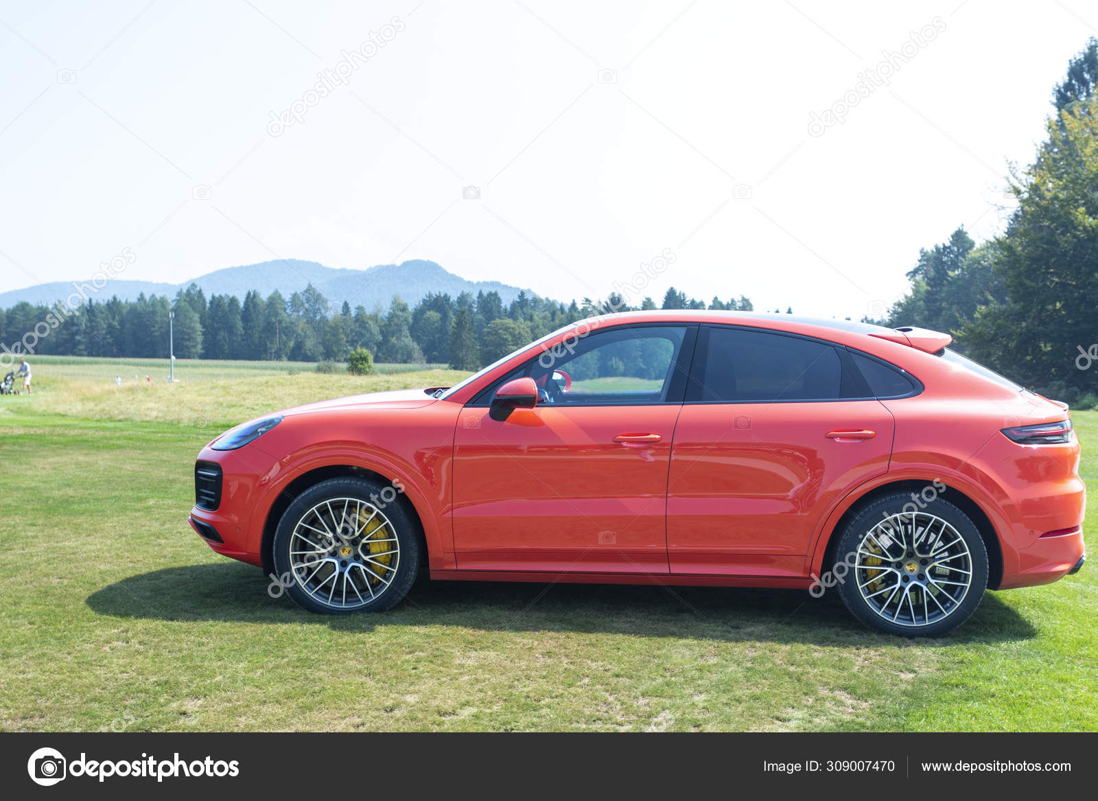 Slovenia Ljubljana 31 August 2019 Red Porsche Cayenne Coupe Turbo S From Stuttgart During Test Drive On Golf Stock Editorial Photo C Taborov 309007470