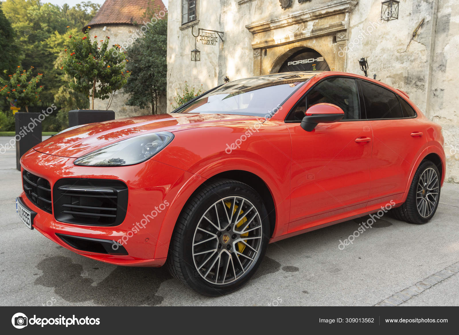 Slovenia Ljubljana 31 August 2019 Porsche Cayenne Coupe Turbo S From Stuttgart During Test Drive Red Suv With Sports Rims Stock Editorial Photo C Taborov 309013562