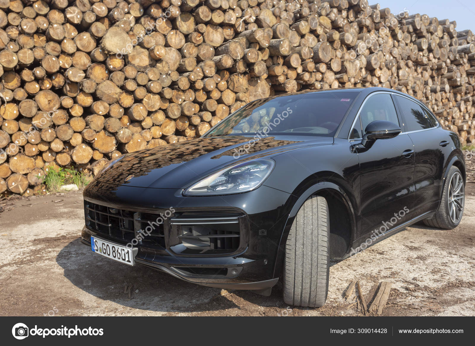 Slovenia Ljubljana 31 August 2019 All New Black Porsche Cayenne Coupe Turbo S From Stuttgart During With Wooden Background Test Drive On Sawmill Stock Editorial Photo C Taborov 309014428