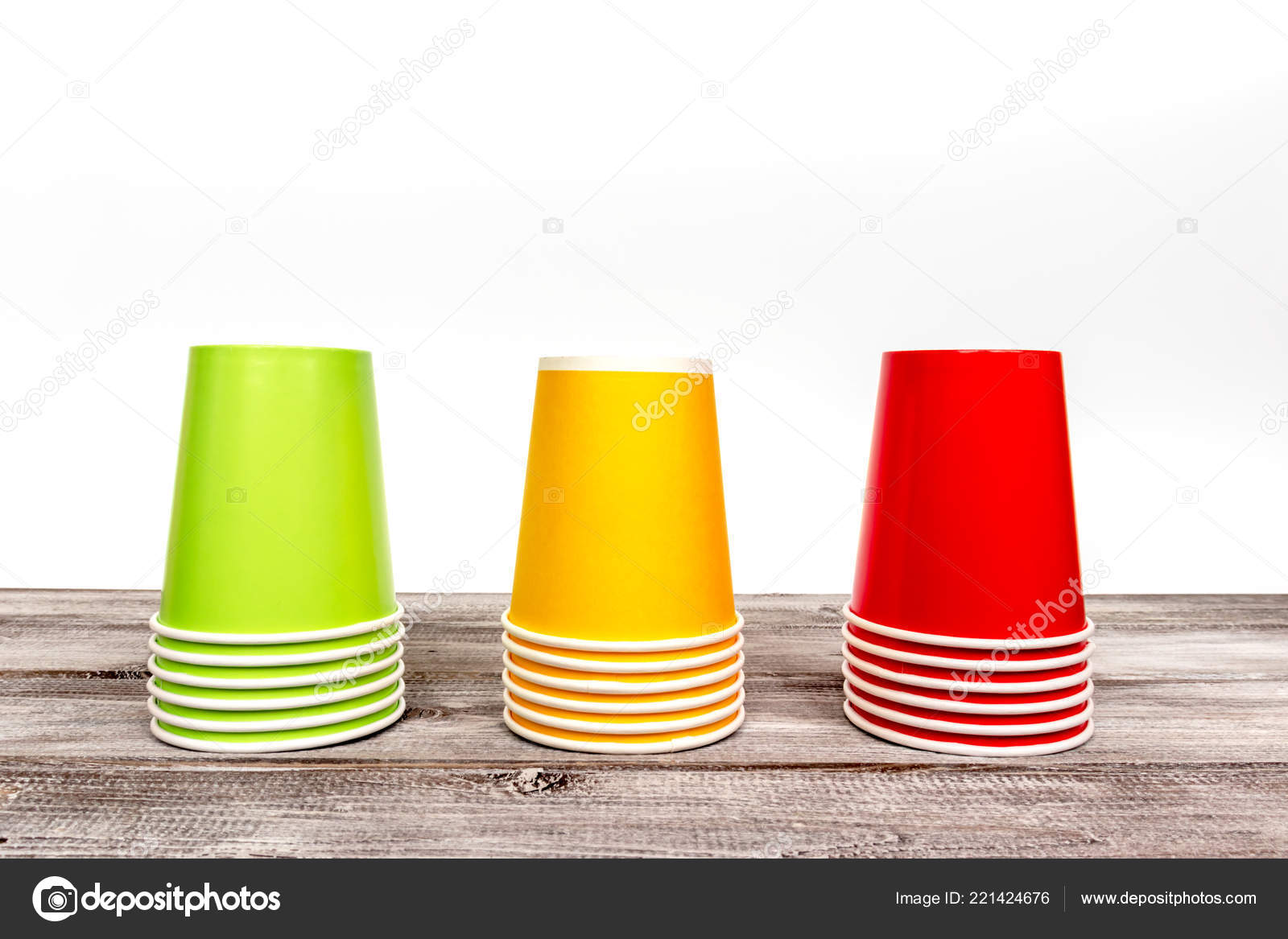 Stacks Empty Colorful Disposable Paper Cups Red Yellow Green