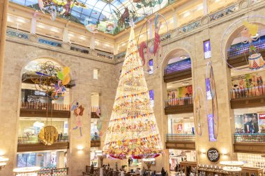 MOSCOW, RUSSIA - DECEMBER 1, 2018: New Year and Christmas luminescent indoor decorations in Central Children's Shop.