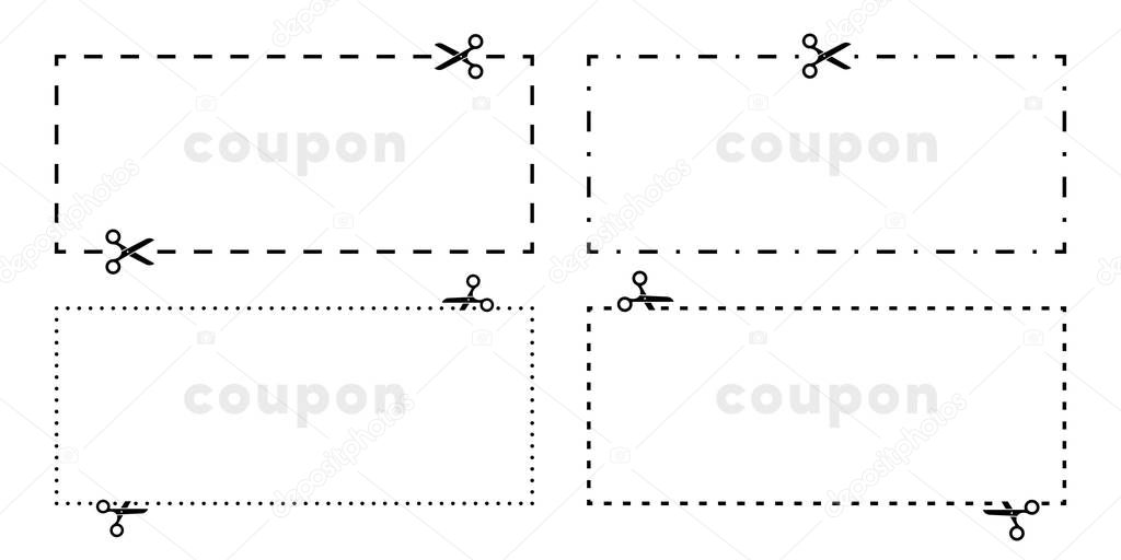 Coupon Cut Out Scissors Cutting Line Vector Icons For Border Cutout With Dotted Dash Or Dashed Line Premium Vector In Adobe Illustrator Ai Ai Format Encapsulated Postscript Eps Eps Format