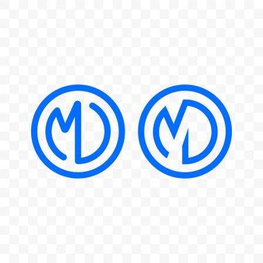 Letter M D ligature monogram vector line circle icon