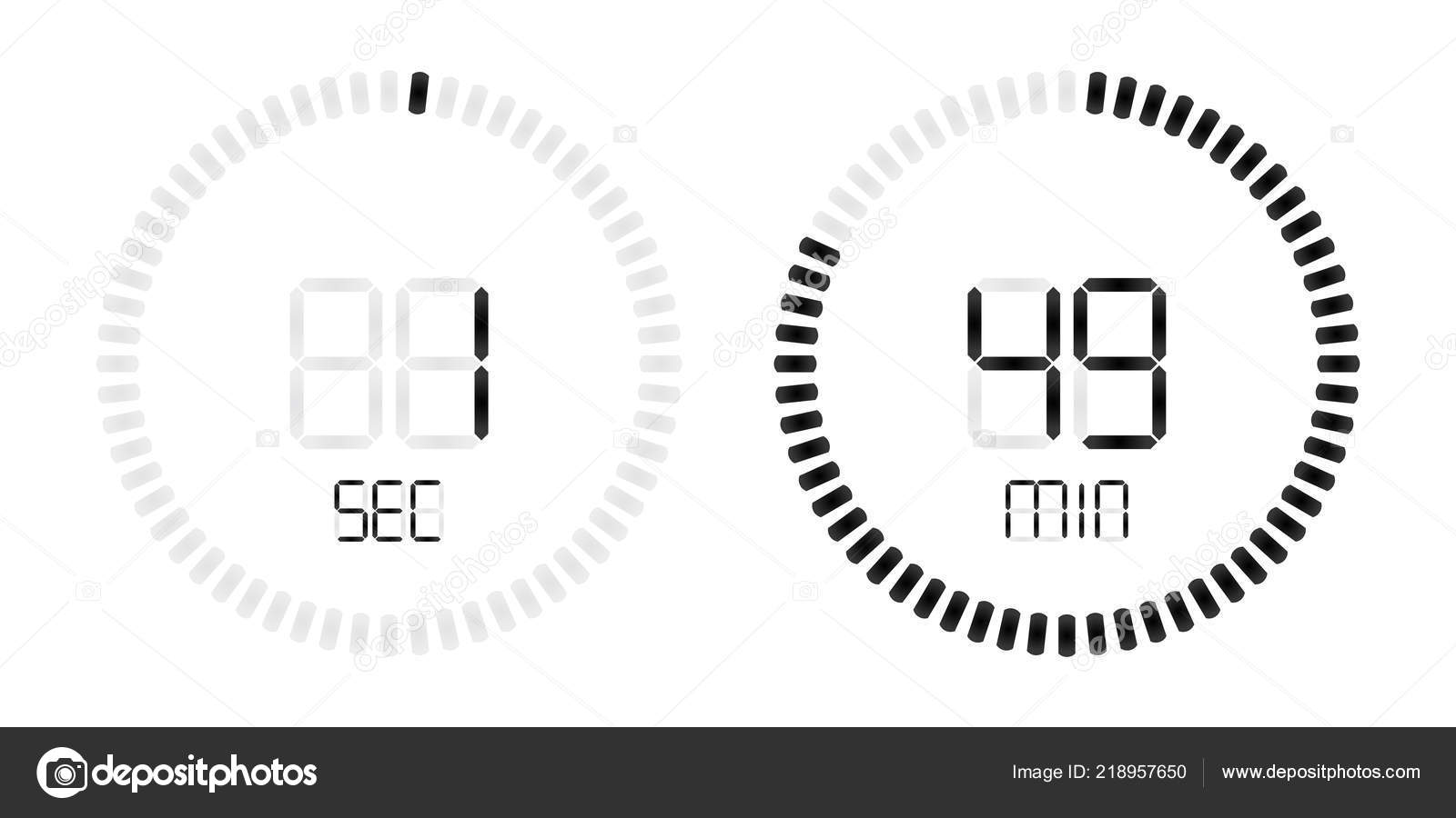 Stopwatch Digital Second Minute Countdown Timer Stock Vector