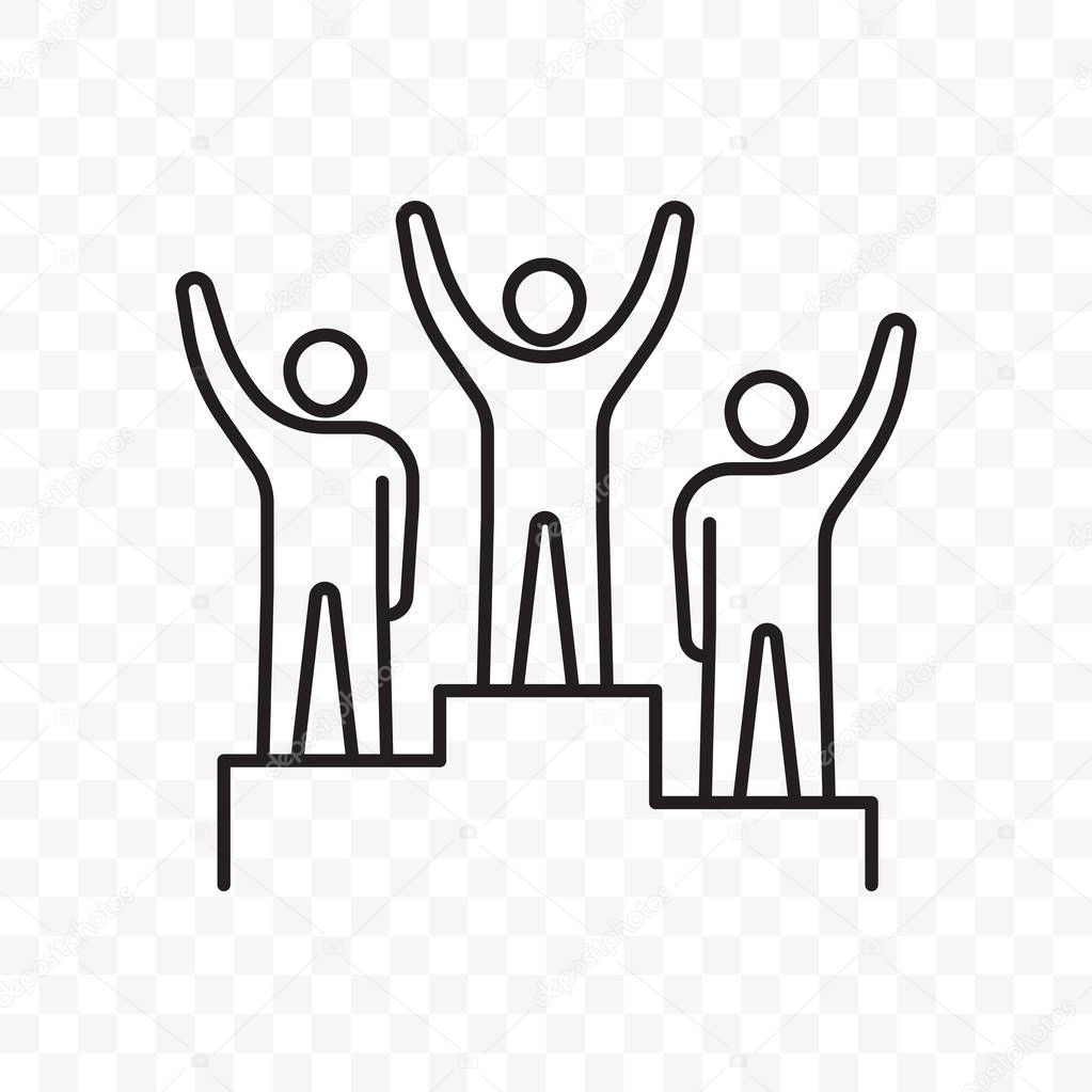 Winners People On Award Success Pedestal Vector Thin Line Icon Champions Or Business Leaders On First Second And Third Place Win In Sport Or Goal Achievement Premium Vector In Adobe Illustrator