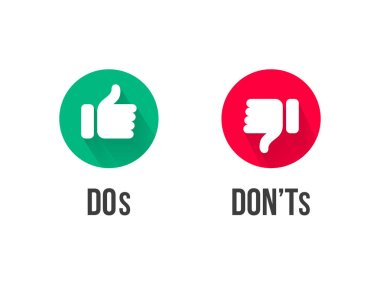 Dos and Donts thumb up and down vector icons. Vector red and green circle symbols for Yes and No and Bad vs Good signs stock vector