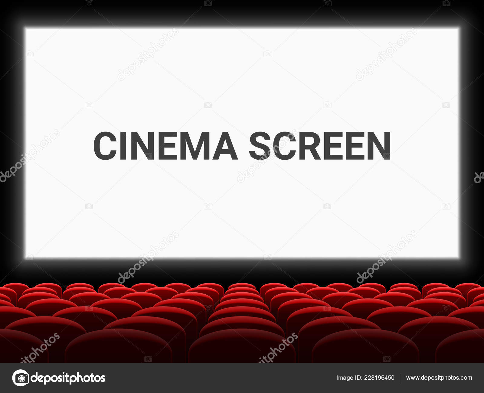Movie Cinema Screen And Red Seat Chairs Vector Background Empty Template Stock Vector C Avector 228196450