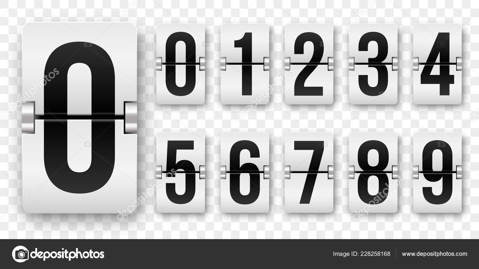 Countdown numbers flip counter  Vector isolated 0 to 9 retro style