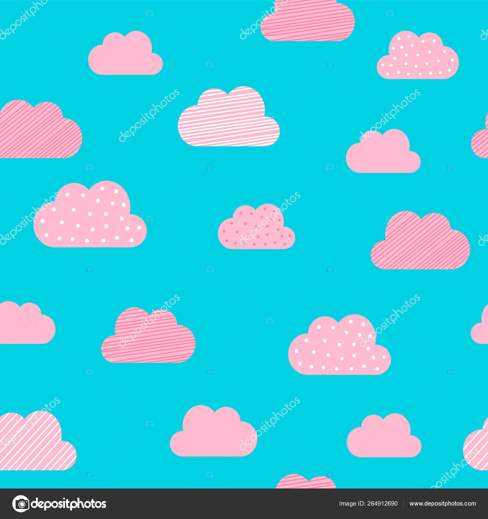 Cloud pattern background  Vector cartoon pink and blue