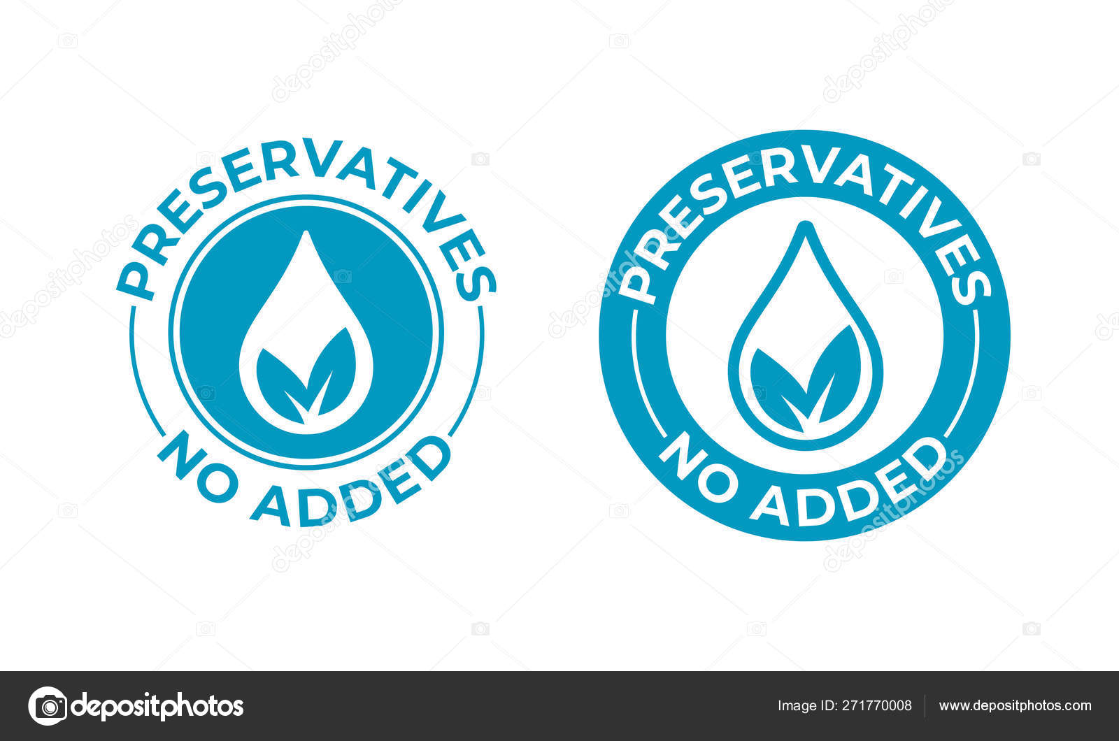 Preservatives no added vector leaf and drop icon