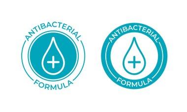 Antibacterial formula product package seal vector drop and cross icon. Antibacterial soap, toilet bath gel cleaner antibacterial sign icon