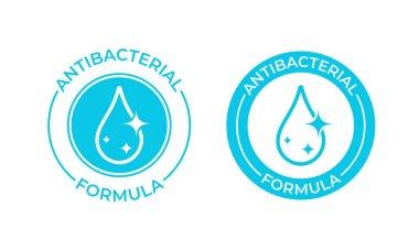 Antibacterial formula vector icon. Antibacterial soap or antiseptic gel label, toilet bath gel cleaner antibacterial product package seal icon