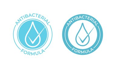 Antibacterial vector icon. Anti bacterial formula sign, hand soap and chemical products package seal icon