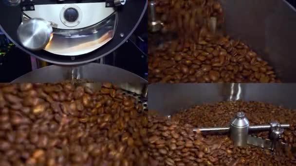 Koláž různých videoklipů, pokrývající téma kávy. Split screen montáž zeď. Pražení kávových zrn. Rozdělená obrazovka. Příprava kávy. Proces chlazení zrna. Barva hnědá