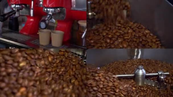 Collage of various video clips covering the topic of coffee. Split screen montage wall. Coffee bean roasting. Split screen. Making coffee. Grain cooling process. Brown color.