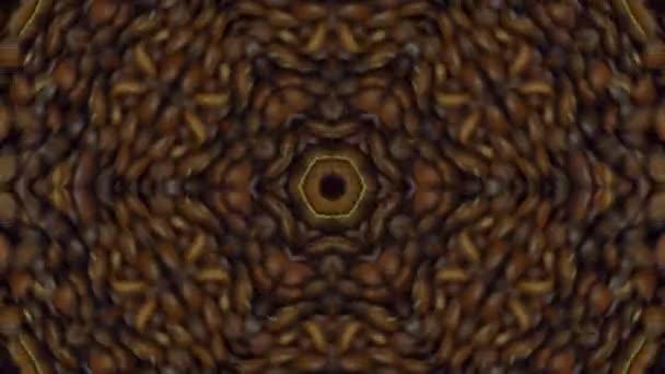 Kaleidoszkóp a kávébab. Csokoládé háttér, disco, a fesztivál, a design. Coffee shop design. A szemek forognak. Kávé absztrakció. Gabona őrlés. Dísz fém-barna