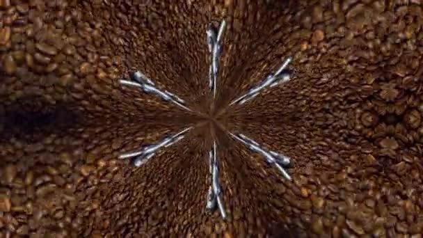 Kaleidoskop kávová zrna. Čokoládové pozadí pro disco, festival, design. Coffee shop design. Zrna se točí. Káva abstrakce. Mletí obilí. Hnědý ornament s kovem
