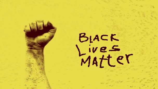 Black zvedl pěst. Symbol boje proti rasismu. Protesty proti rasové diskriminaci a policejnímu násilí. Black Lives Matter.