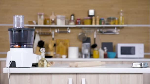 Zoom in shot on empty modern kitchen