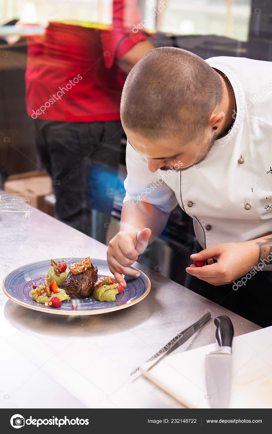 Professional Food Decoration In Restaurant Kitchen Stock Photo C Dragoscondreaw 232148722