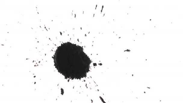 Tečky inkoustu rozmáznutej na bílém pozadí