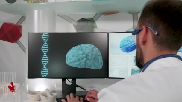 Revealing shot of modern research center with a doctor working in it