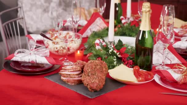 Traditional delicious food on the table for christmas celebration with family