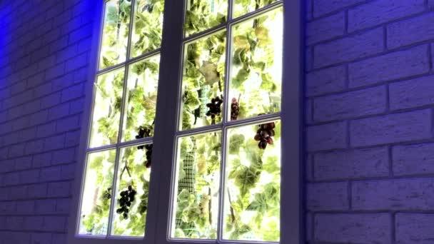 Dekorative künstliche Kunstfenster an der Holzwand