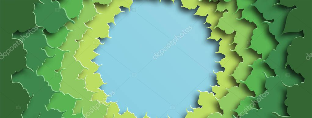 Banner for social networks caps. Green foliage. Abstract background in paper cut style. Vector