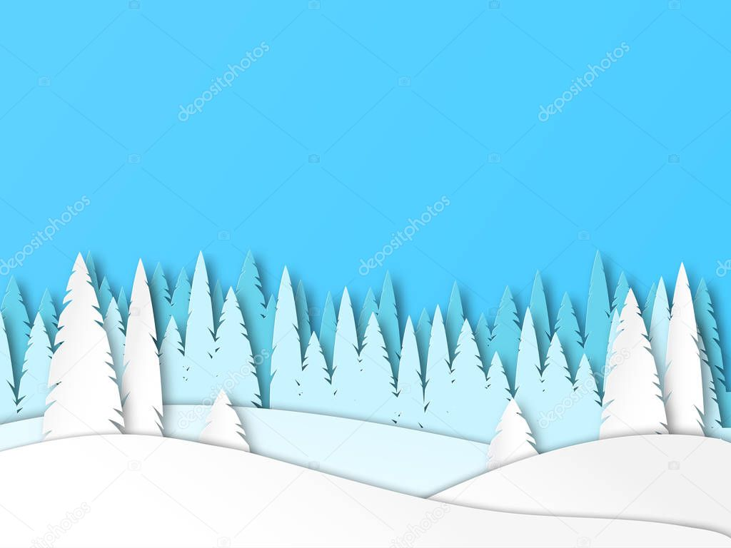 Winter sunny forest. Snow landscape in paper cut style. Vector.