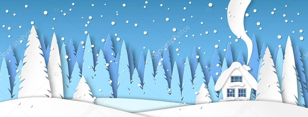 Banner for social networks caps. Winter landscape with snow and house in the afternoon. Spruce forest in paper-cut style. Vector