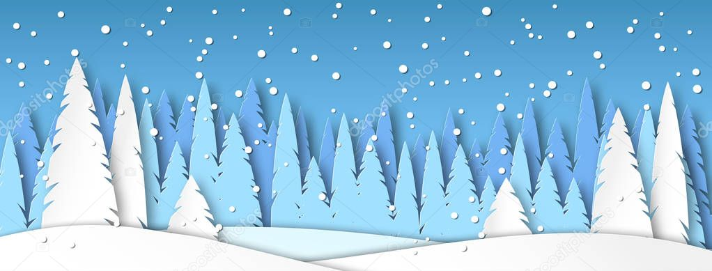 Banner for social networks caps. Winter landscape with snow. Spruce forest in the style of paper cut. Vector