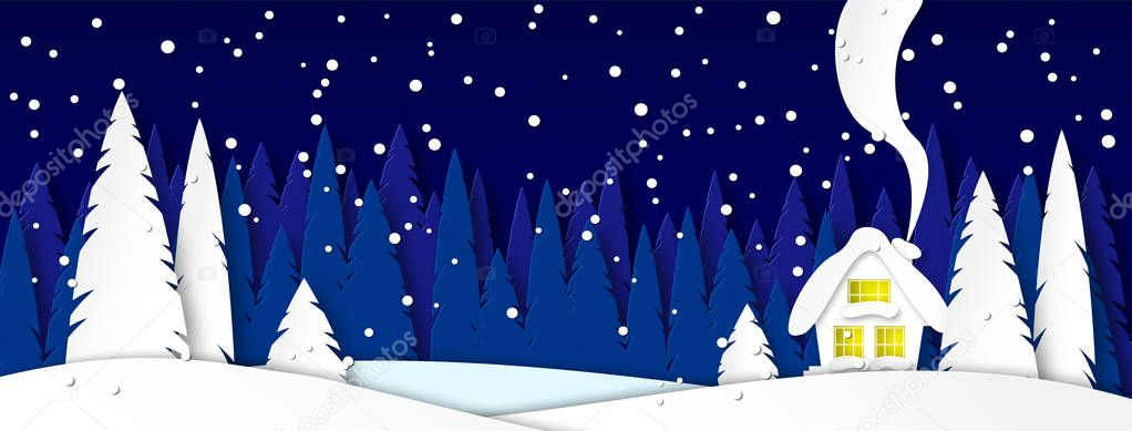 Banner for social networks caps. Winter landscape with house on a moonlit night. Snowy trees in a park or forest. Design in the style of paper art. Vector
