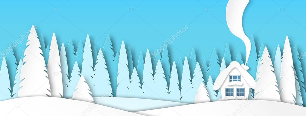 Banner for social networks caps. Winter landscape with house in the afternoon. Spruce forest in paper-cut style. Vector