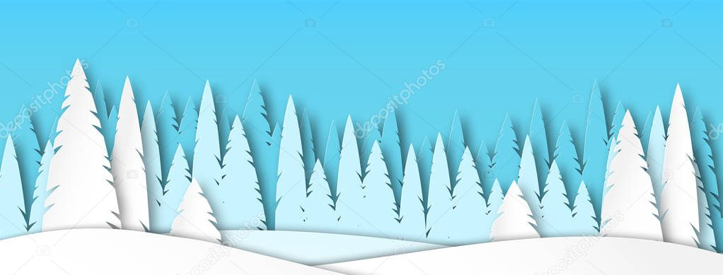 Banner for social networks caps. Winter landscape afternoon. Spruce forest in the style of paper cut. Vector illustration
