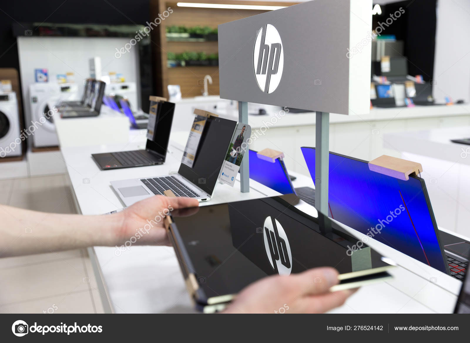 Wallpapers Best Hd For Hp Laptop New Hp Laptop Computer Displayed In Hands In Electronic Store Stock Editorial Photo C Nemanjazotovic 276524142