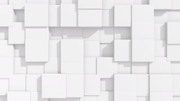 Abstraktní kvadratická animace povrchu. světlé a světlé minimum čtverečků. Náhodná mávající architektonická plátna na pozadí. Bezešvá smyčka 4k FullHD